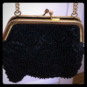 Vintage black beaded purse.